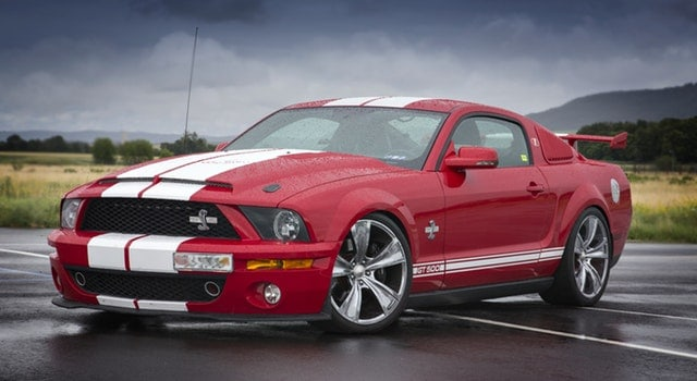A picture of a red muscle car