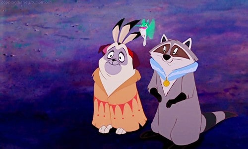 Percy the dog and the raccoon from Pocahontas