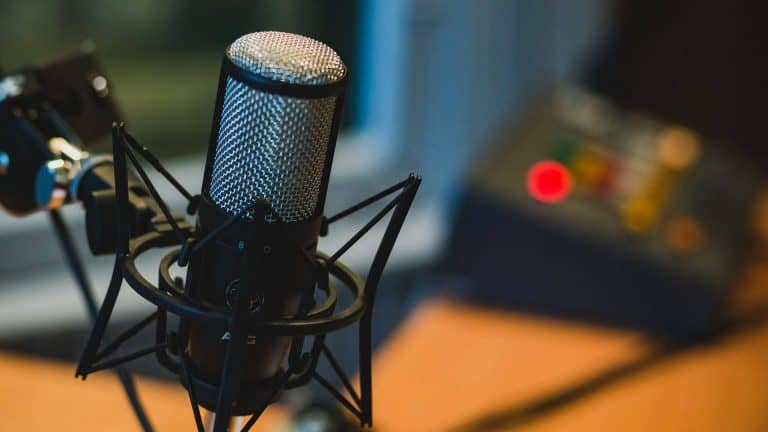 A podcast microphone to represent the dog podcasts